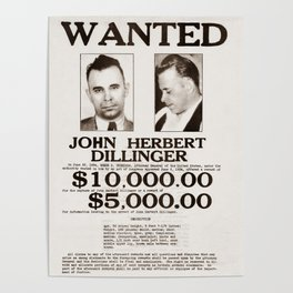 John Dillinger Wanted Poster Poster