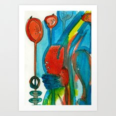 Poppies and Pods I Art Print