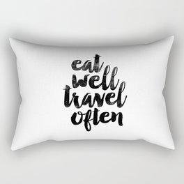 Eat Well Travel Often black and white typography poster black-white design bedroom wall home decor Rectangular Pillow