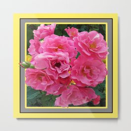 CLUSTERED PINK ROSES YELLOW-GREY ART Metal Print