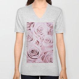 Pink Roses Flowers - Rose and flower pattern Unisex V-Neck