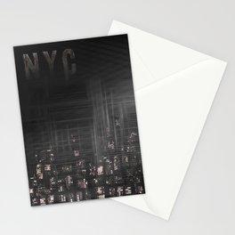 MODERN ART New York City Skylines | black Stationery Cards
