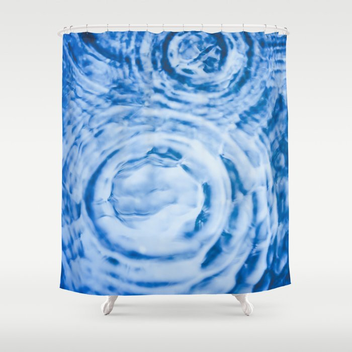 Raindrop Ripples In Blue Water Shower Curtain