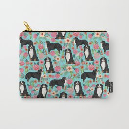 Bernese Mountain Dog pet portrait dog art illustration fur baby dog breed floral gift for dog lover Carry-All Pouch
