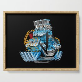Classic Muscle Car Hot Rod Chrome Racing Engine Cartoon Serving Tray