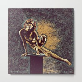 0953s-ZAC Dancer on Pedestal Graceful Young Black Woman Rendered in the Style of Antonio Bravo Metal Print