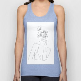 Minimal Line Art Woman with Flowers Unisex Tanktop