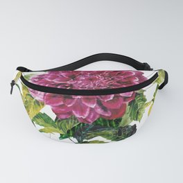 Cut Dahlia Watercolor on Wrinkled Paper Fanny Pack