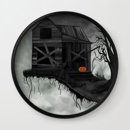 Haunted House and Jolly Pumpkin Wall Clock