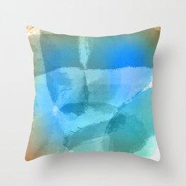Blue Beach Abstract Watercolor Throw Pillow