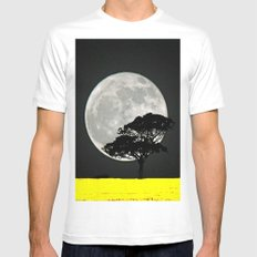 Lone Tree And Moon. MEDIUM White Mens Fitted Tee