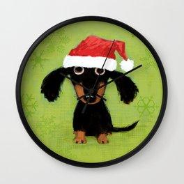 Dachshund Santa Clause | Wiener Dog Christmas Wall Clock