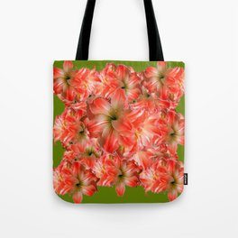 Peppermint Color Amaryllis Flower Avocado Pattern Tote Bag