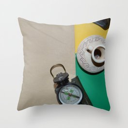 Different objects in a composition on colored backgrounds Throw Pillow