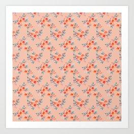 Hand painted orange teal watercolor peonies flowers Art Print