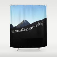 the mountains are calling Shower Curtains featuring The mountains are calling... by Hanseni