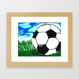 Soccer Ball In Grass Printmaking Art Framed Art Print
