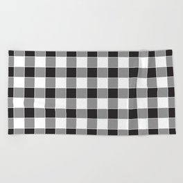 Buffalo Check - black / white Beach Towel