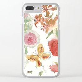 Dahlias and Floral Snippets Clear iPhone Case
