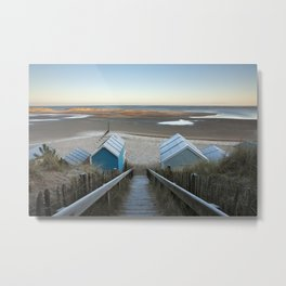 Frost covering beach huts and steps at sunrise. Wells-next-the-sea, North Norfolk Coast, UK Metal Print
