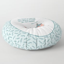 Jane Austen house and quote Floor Pillow