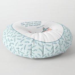 Jane Austen house and quote Floor Pillow