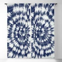 Indigo Blue Spiral Shibori Dye  Blackout Curtain