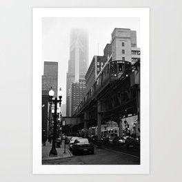 El on a Foggy Day Chicago Black and White Photo Art Print