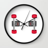 skateboard Wall Clocks featuring Skateboard Trucks by mailboxdisco