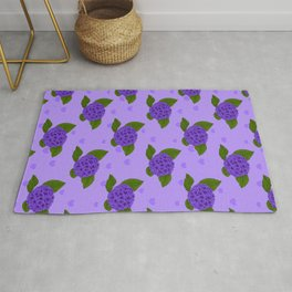 Heliotrope Vintage Floral Illustration Of Hydrangea Flowers And Hearts Rug