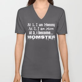 Mom Counting Momster at 3 Mother's Day Unisex V-Neck