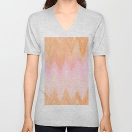 Blush pink orange watercolor hand painted ombre ikat Unisex V-Neck
