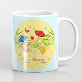 Hello Summer, vector illustration with text Coffee Mug