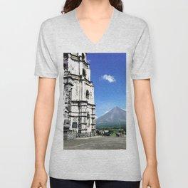 Mayon Volcano & the Old Church Unisex V-Neck