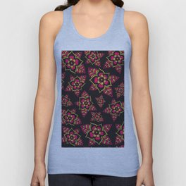 Pink yellow black hand painted modern floral Unisex Tank Top