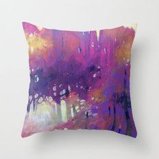 Misty morning in the forest Throw Pillow