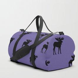 Bull Moose Silhouette - Black on Ultra Violet Duffle Bag