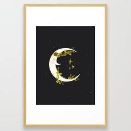 La lune la nuit Framed Art Print