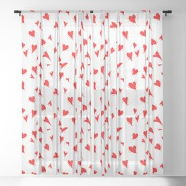 Scattered Hand-Drawn Bright Red Painted Hearts Pattern on White Sheer Curtain