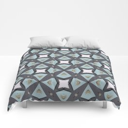 Soft Teal Blue & Gold No. 4 Comforters