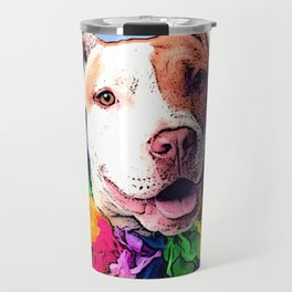 Dog in Flowers Travel Mug