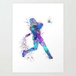 Boy Baseball Softball Batter Colorful Watercolor Sports Art Art Print