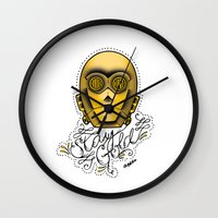 stay gold Wall Clocks featuring Stay Gold by Amanda Marie Bell