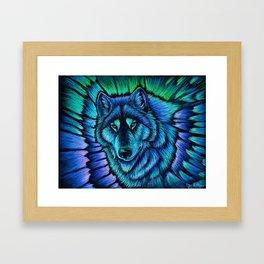 Blue Wolf Aurora Colorful Fantasy Framed Art Print