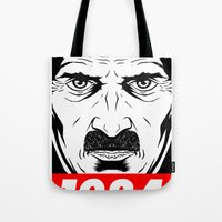 1984 Tote Bags featuring OBEY 1984 by MRCRMB