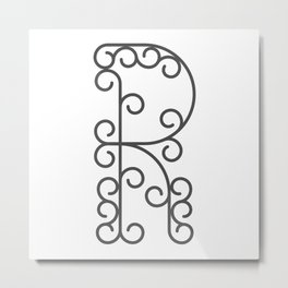 """Letter """"R"""" in beautiful design Fashion Modern Style Metal Print"""