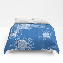 Hair Drier Patent - Salon Art - Blueprint Comforters