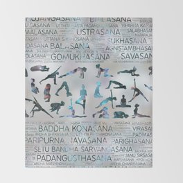 Yoga Asanas / Poses Sanskrit Word Art  Labradorite on pearl Throw Blanket