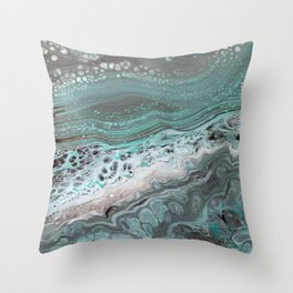 Teal Flow Abstract Acrylic Painting Throw Pillow