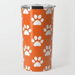 Orange and white paw prints pattern Travel Mug